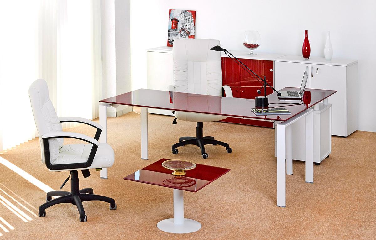 Bureau de direction carre emaille rouge meubles et