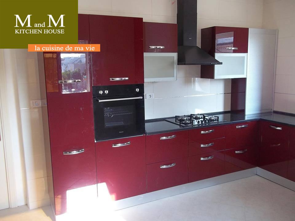 Cuisine encastrable rouge bordeau meubles et d coration for Meuble cuisine tunisie soukra
